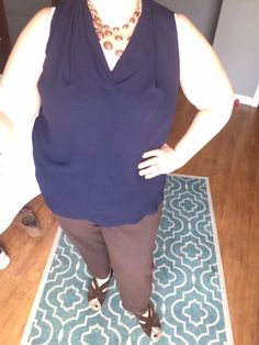 Cardigan-Free ... Navy Blouse with Brown Slacks and Brown Earth Sandals