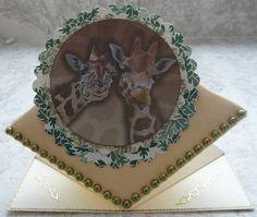 A card featuring giraffes.