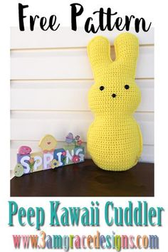 Our free easter bunny peep crochet pattern is a fun addition to your decor this spring! How To Crochet An Easter Peep Amigurumi Cuddler Pillow. Our Free Easter Peeop Crochet Pattern Works Up Quickly! Crochet Patterns Amigurumi, Crochet Dolls, Crochet Yarn, Free Crochet, Crochet Afghans, Easter Bunny Crochet Pattern, Crochet Flower Patterns, Crochet Flowers, Crochet Rabbit