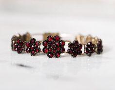 Antique Victorian Bohemian Garnet Flower Link Bracelet All Flowers, Large Flowers, Refraction Of Light, Red Accessories, Antique Bracelets, Fiery Red, Flower Shape, Link Bracelets, Garnet