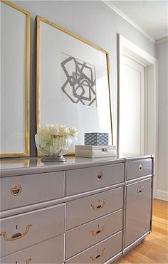 ROSA BELTRAN DESIGN DIY wall art vintage lacquered campaign dresser grey gray greige putty brass gold chest large frames framed art neutral bedroom peter dunham circles natural curiosities squares