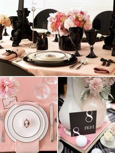 peach and black bridal shower table settings | Everything you need for your Pink and Black Table Setting .