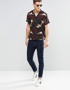 ASOS Floral Bird Shirt With Revere Collar In Regular Fit €35,21
