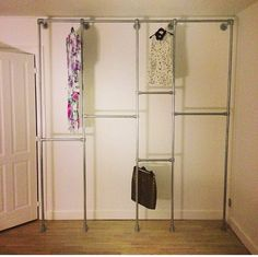 DIY closet -- create two levels for more clothing storage :)