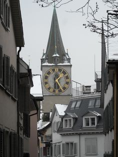 St. Peter, Zürich, a 8.7 meters clock, built in 1534, the biggest church clock face, Switzerland Tic Toc, Towers, Big Ben, Clocks, Building, Travel, Around The Worlds, Voyage, Cities