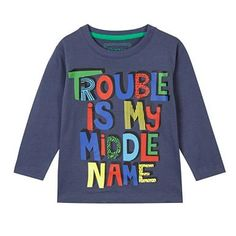 Boy's navy 'Trouble' printed top