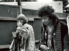 Jimi Hendrix & Brian Jones Woodstock | Favim | hippies | festival | legend | classic rock n roll | guitarist | back stage