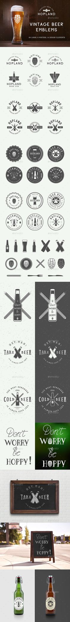 24 Beer Emblems — Photoshop PSD #brewery #crafted • Download ➝ https://graphicriver.net/item/24-beer-emblems/19382302?ref=pxcr