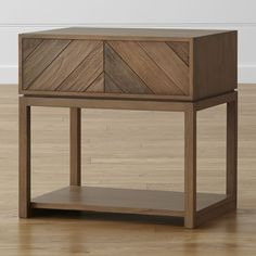 Crafted by master woodworkers in Indonesia, the Chevron nightstand's striking inlaid veneer of sustainable Mindi wood sets a geometric backdrop in the bedroom, naturally highlighting the rich textures and warm shading of this hardwood.  Mindi wood veneer over engineered woodNatural color stain, water-based topcoat and sealer (color variances to be expected)Beveled drawer fronts with integrated pullsSolid mahogany legsSelf-closIng metal undermount drawer glidesMade in Indonesia.