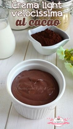 Crema light velocissima al cacao - CIBO Healthy Sauces, Healthy Recipes, Stevia, Nutella, Pastry Cake, Something Sweet, Light Recipes, Cute Food, Fett