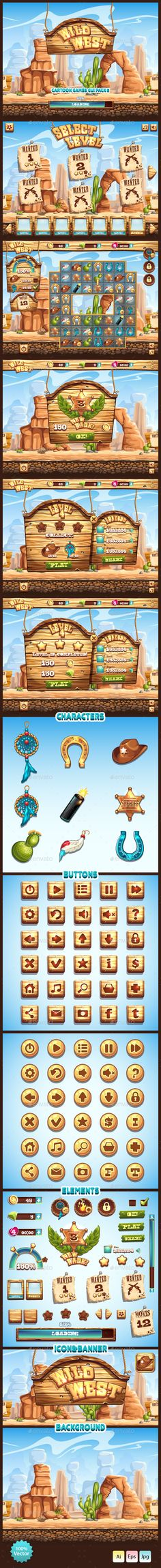 Wild West GUI by Nearbirds General Description Complete pack of user interface elements for your video game.All elements are 100 vector and fully customizab 2d Game Art, Video Game Art, Game Gui, Game Ui Design, Game Props, Game Interface, Mobile Art, Illustrator Cs, Game Item