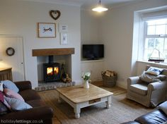 Stylish and comfortable lounge with log burner and LCD TV