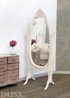 White Baroque Cheval Mirror with stand