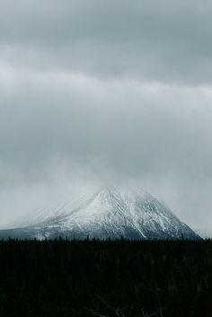 touchdisky:    Alaska Highway Mountains in Mist, Yukon Territory   USA byTheBlackKnight