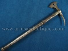Northern Italian European Battle Axe with grotesque or Mannerist axehead with chiseled iron dolphin and tigerhead design - Arms And Antiques Ovid Metamorphoses, Battle Axe, Medieval Knight, Northern Italy, Italian Artist, Antique Items, Metallica, Dolphins, Weapons