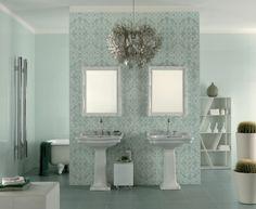 Badezimmer Fliesen Ideen In Hellem Grün Mit Blumen Muster