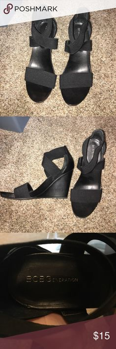 BCBGeneration black wedges Super cute black BCBGeneration wedges. Worn once, only to realize they don't fit me that well. BCBGeneration Shoes Wedges