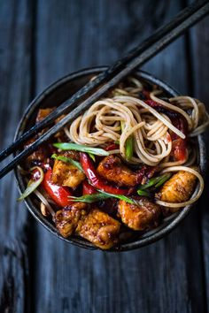 A simple delicious recipe for Kung Pao Noodles that can be made with chicken or roasted cauliflower served over noodles. | www.feastingathome.com