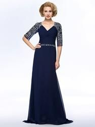 EricDress - EricDress Vogue A-Line Beadings 3/4 Long Sleeves Mother of the Bride Dress - AdoreWe.com