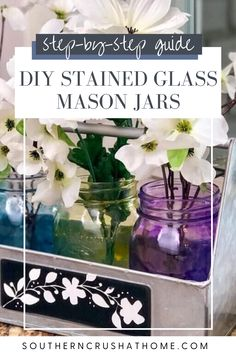 These stained glass mason jars are the perfect addition to your table, or add some flowers and give them as a DIY gift to a friend! Learn how to make these gorgeous DIY stained glass look mason jars with my easy to follow DIY tutorial!  #masonjar #crafts #diygift #tutorial Spring Projects, Fun Projects, Mason Jar Projects, Making Stained Glass, Dollar Tree Crafts, Jar Lights, Glass Containers, Mason Jar Diy, Diy Tutorial