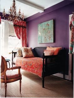 Fabric draped old settee, purple living room, boho eclectic decor
