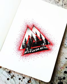 #valknut #forrest #silhouette #trees #black #blackandwhite #red #ink #dotwork #linework #thedotworkers #norse #norsetattoo #viking #odin #knot #tattoo #tattoodesign #merch #logo #design #drawing #sketching #doodle #illustration #czech #primitive #handpoke