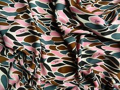 EMILIO PUCCI MADE IN ITALY PURE SILK SCREPE STRETCH FABRIC CM 270 X 130