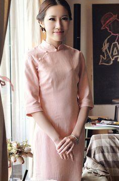 Middle Sleeve Pink Linen Cheongsam,Chinese Dress