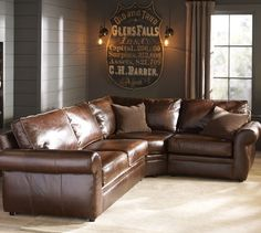 Pearce Leather Sectionals   Pottery Barn