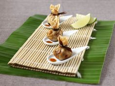 Event catering London deep fried won tons with sweet chilli sauce