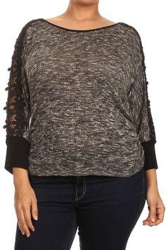 Plus Size Floral Crochet Sleeves Knit Top Plus Size Dresses, Plus Size Outfits, Back To School Fashion, Plus Size Women's Tops, Fashion Sale, Plus Size Fashion, Fashion Dresses, Men Sweater, Knitting