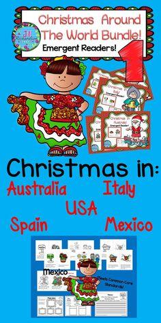 Christmas Around The World Unit Emergent Readers Bundle 1 Christmas Esl