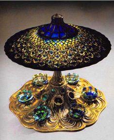 유 Illuminating Lamps 유 Peacock centerpiece table lamp, c. Antique Lamps, Antique Lighting, Vintage Lamps, Centerpiece Table, Peacock Centerpieces, Louis Comfort Tiffany, Stained Glass Lamps, Leaded Glass, Chandeliers