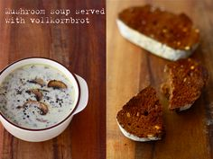 Homemade cream of mushroom soup by Season with Spice, served with vollkornbrot Homemade Mushroom Soup, Creamy Mushroom Soup, Mushroom Soup Recipes, Mushroom Broth, Creamed Mushrooms, Stuffed Mushrooms, Stuffed Peppers, Fresco, Great Recipes
