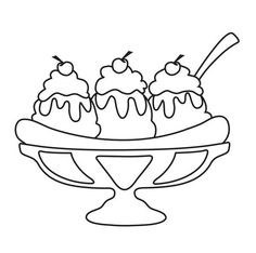 Cupcakes, sorvetes, bolos e doces (Cupcakes, ice creams, cakes and sweets) Food Coloring Pages, Coloring Sheets, Coloring Books, Bird Drawings, Easy Drawings, Ice Cream Images, Mother Daughter Art, Craft Images, Needle Book