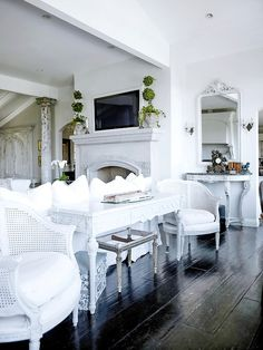 White - french country living room