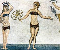 Minoan women wearing sports bras, first record of bra.