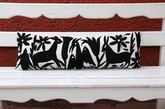 Black Lumbar Hand Embroidered Otomi Cushion Sham by CasaOtomi    Mexico, Tenango, mexican wedding, textile, mexican suzani, suzani, embroidery, hand embroidered, otomi, www.casaotomi.com, otomi, table runner, fiber art, mexican, handmade, original, authetic, textile , mexico casa, mexican decor, mexican interior, frida, kahlo, mexican folk,  folk art, mexican house, mexican home, puebla collection, las flores, travel tote, boho, tote, handbag, purse, cushion, pillow