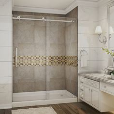 Aston Moselle 60-in x 77.5-in Completely Frameless Alcove Sliding Shower Door in Stainless Steel (Silver) w. Base (Stainless Steel Finish)