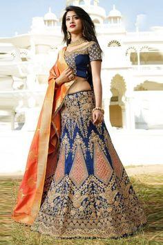 Resham Dupion Silk Lehenga Choli In Navy Blue Model: Blouse Lehenga, Lehenga Indien, Lehenga Choli Online, Silk Lehenga, Designer Bridal Lehenga, Indian Bridal Lehenga, Indian Sarees, Indian Dresses, Vestidos