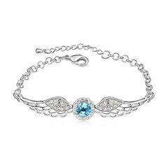 Mondaynoon Swarovski Elements Crystal Bracelets for Women the Wings of Angel (sea blue) Mondaynoon http://www.amazon.com/dp/B00HIBGEZY/ref=cm_sw_r_pi_dp_eEaBub1C0K6BZ