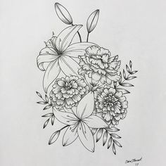 Floral flower drawing black and white illustration line im always a big fan of marigolds and carnations flowers art mightylinksfo