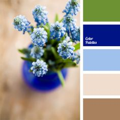 Intense deep blue color brings a note of optimism and joy into a tranquil spring range of green, blue and light beige shades. This palette is perfect for t