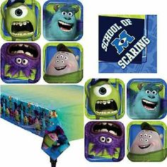 Monsters University Party Tableware Plates Napkins & Tablecover Set 16 or 24