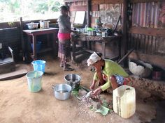 Residents of a small village near the Tsam Tsam Ecotourism Site in Gabon, Central Africa, prepare meals in this primitive kitchen. Primitive Kitchen, Food Preparation, Africa, Meals, Rustic Kitchen, Meal, Food, Minimalist Kitchen, Afro