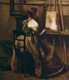 Jean-Baptiste COROT - jeune femme devant un tableau (1874)