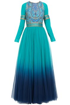 Turquoise to midnight blue ombre anarkali kurta set available only at Pernia's Pop-Up Shop.