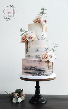 naked wedding cake with blush pink ombré buttercream, wafer paper flowers . Semi naked wedding cake with blush pink ombré buttercream, wafer paper flowers .Semi naked wedding cake with blush pink ombré buttercream, wafer paper flowers . Blush Wedding Cakes, Summer Wedding Cakes, Wedding Cake Roses, Buttercream Wedding Cake, Floral Wedding Cakes, Wedding Cake Rustic, Wedding Cakes With Flowers, Elegant Wedding Cakes, Beautiful Wedding Cakes