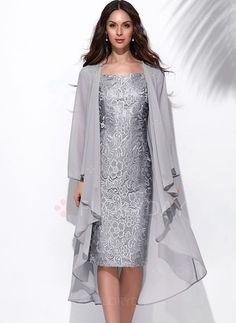 Dress - $71.62 - Solid Wrap Square Neckline Knee-Length Sheath Dress (1955130655)