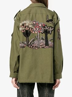 Designer Parka Coats For Women Embroidery Fashion, Embroidery Dress, Valentino Jacket, Military Chic, Cotton Jacket, Jackets For Women, Women's Jackets, Outerwear Jackets, Refashion